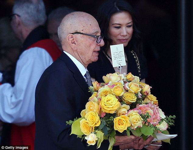 Recent death: Murdoch has been spending time in Australia because of the death of his 103-year-old mother Dame Elisabeth Murdoch and was seen with his wife Wendi at the public memorial service in Melbourne