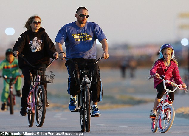 Family spin: The German stunner enjoyed a picturesque bike ride in Venice Beach Thursday alongside Martin, and her eight-year-old daughter Leni and seven-year-old son Henry