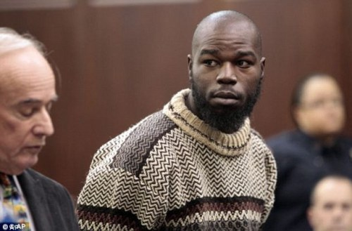 Charged: Homeless man, 30-year-old Naeem Davis, pictured, was charged with murder after pushing a man under a train on December 3