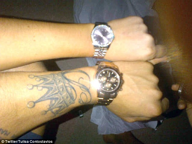 'Great minds think alike': Tulisa and Danny unwittingly bought each other his 'n' hers watches for Christmas