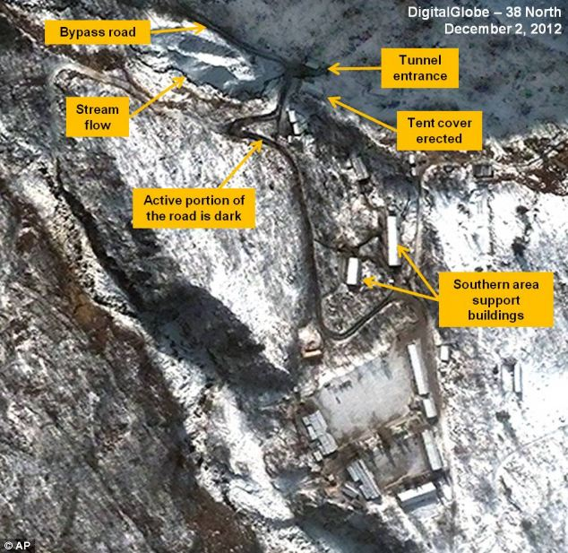 This satellite image taken on December 2 shows the traffic flow pattern at the Punggye-ri Nuclear Test Facility in North Korea.