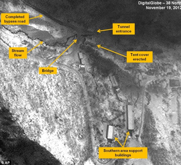 This satellite image taken Nov. 19, 2012 by DigitalGlobe shows the entrance area of the Punggye-ri Nuclear Test Facility in North Korea, where experts suspect Pyongyang will conduct its next detonation.