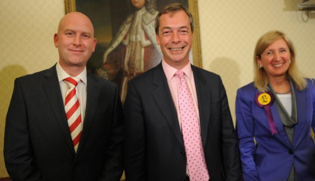 Leadership: Mr Farage with the party's deputy leader Paul Nuttall and South East MEP Marta Andreasen