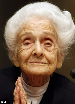 Rita Levi Montalcini, Nobel Prize winner for Medicine in 1986, is seen at a press conference for her one hundredth birthday, in Rome in 2009