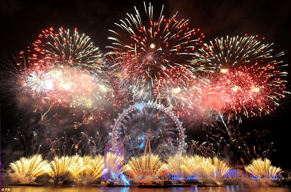 Elaborate: The London Eye is dwarfed by the impressive fireworks
