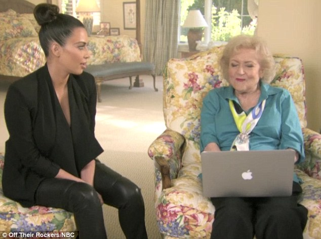 Meeting of the pop icons: Kim Kardashian and Betty White filmed a skit for NBC's Off Their Rockers together