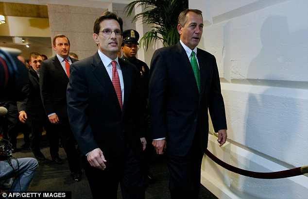 Divisive: Rep Eric Cantor, left, the number two Republican leader in the House, said he opposed the bill, indicating a potential split with House Speaker Boehner, right