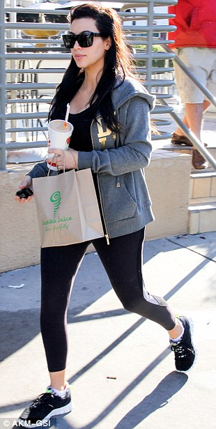 Health kick: Post workout, Kim headed to Jamba Juice to pick up a smoothie