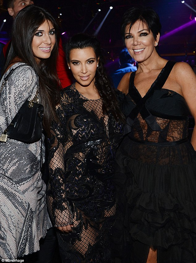 Kris to the rescue: Kris Jenner, far right, defended her daughter Kim Kardashian, center, from a spate of online criticism she received for partying on New Year's Eve