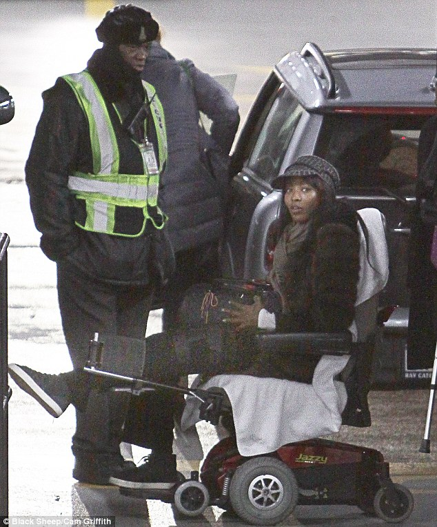 Best foot forward: Naomi Campbell in a wheelchair in New York following the violent attack in Paris