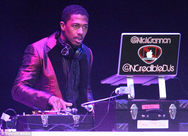 Family affair: Her husband Nick Cannon performed a DJ set at Allphones Arena, Sydney Olympic Park