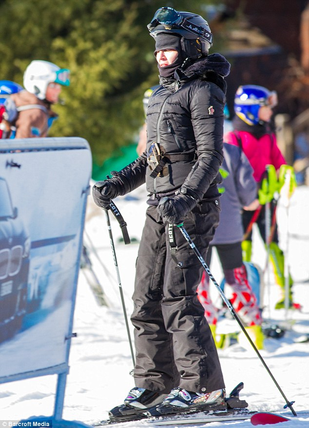 Holiday: Madonna looked more confident as she took to the slopes in Switzerland