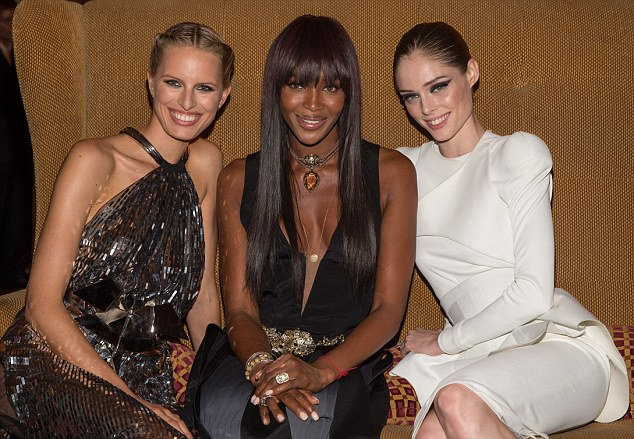 Model behaviour: Naomi was joined by fellow professionals Karolina Kurkova, left, and Coco Rocha, right