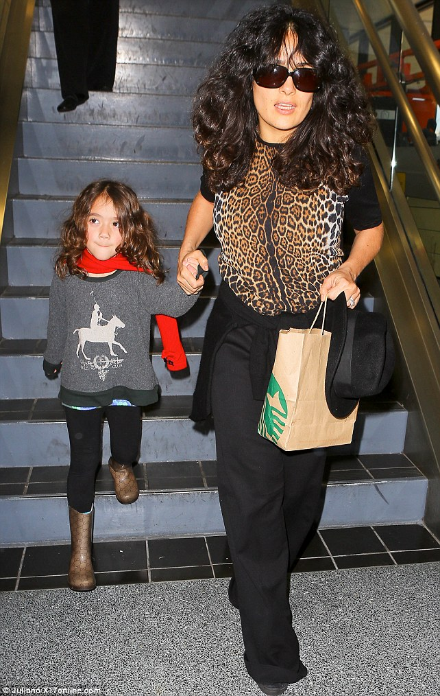 Travel buddies: Salma Hayek was spotted at LAX with her daughter, Valentina on Monday