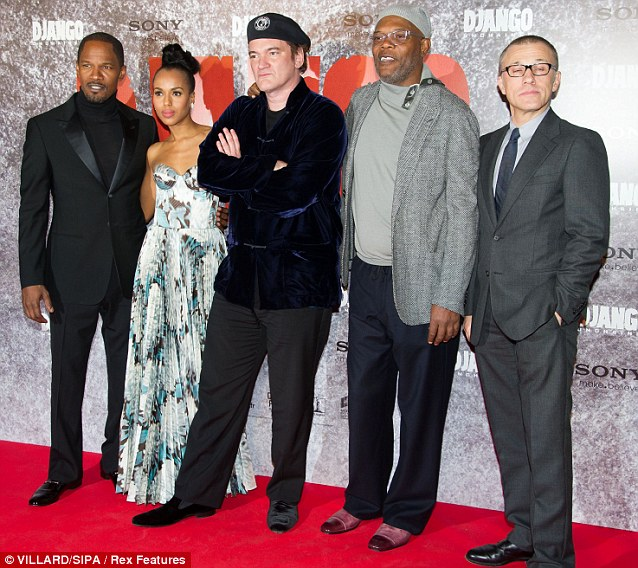 Close colleagues: She was joined by Jamie Foxx, Quentin Tarantino, Samuel L. Jackson and Christoph Waltz at Le Grand Rex