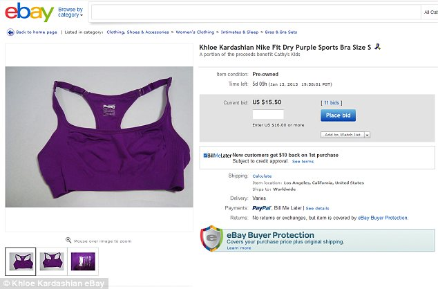 A sweaty souvenir: Fans can bid on Khloe's sports bras, one of which is advertised as 'pre-owned'