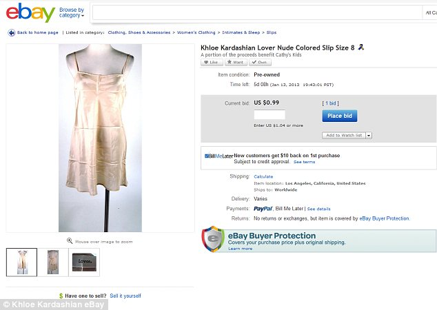 Not so popular: One of Khloe's silky slips had only received one bid on Tuesday and the price remained at just $0.99