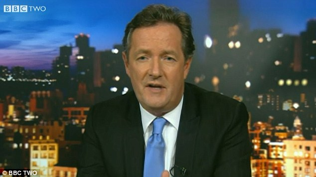 Unimpressed: Piers Morgan last night criticised the U.S. gun lobby as 'stupid and dangerous' on Newsnight