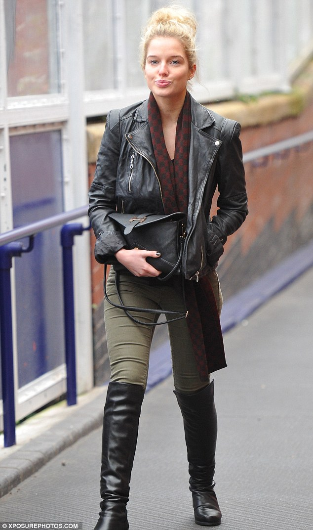 Helen Flanagan sports a messy bed head as she catches the