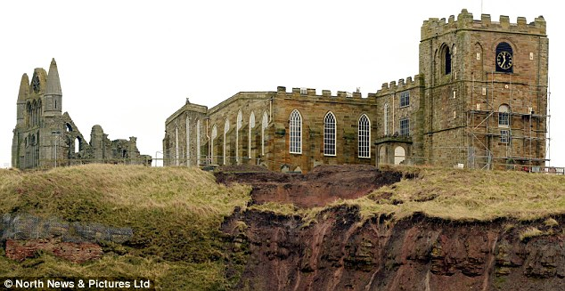 Ruin: It is feared the legendary St Mary's Church in Whitby could fall if the cliff face crumbles away