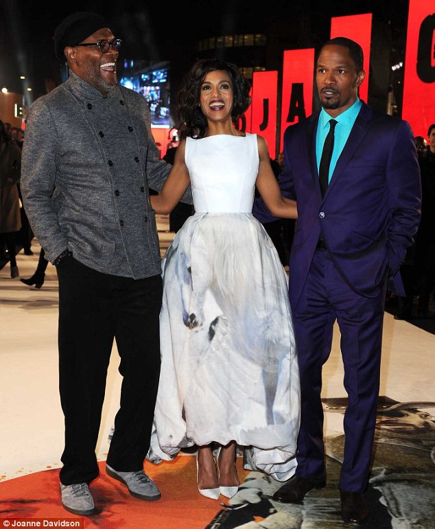 Group shot: Kerry was joined by her co-stars Samuel L Jackson and Jamie Foxx on the red carpet at the premiere at The Empire Leicester Square