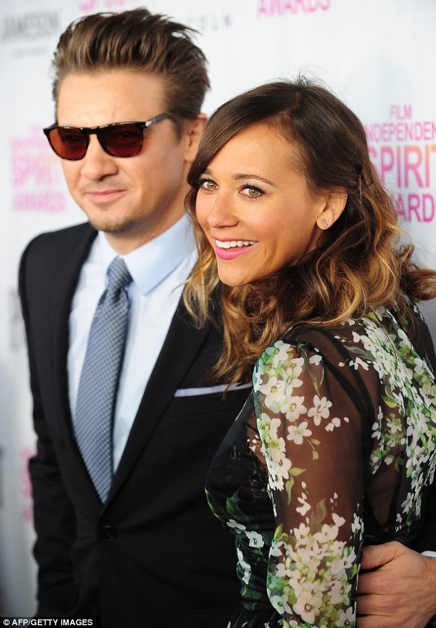 Lucky guy: Rashida got cosy with actor Jeremy Renner on the red carpet of the event at Boa restaurant in West Hollywood Saturday