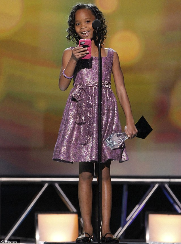 Breakthrough star: Quvenzhane accepted the award for Best Young Actor/Actress for her role in Beasts of the Southern Wild at the 2013 Critics' Choice Awards