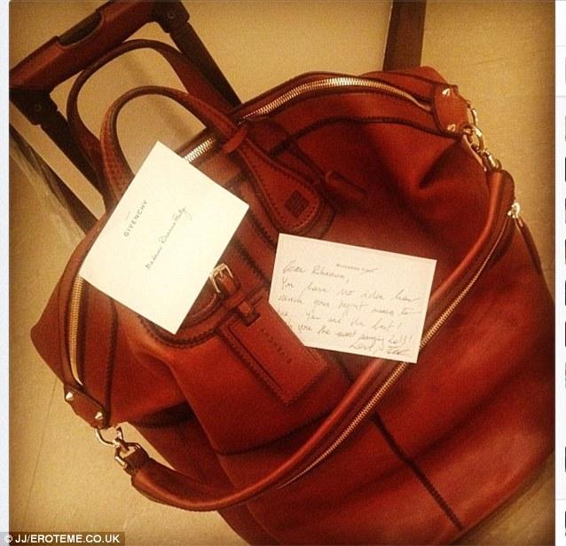 New holdall: She also received a large designer bag