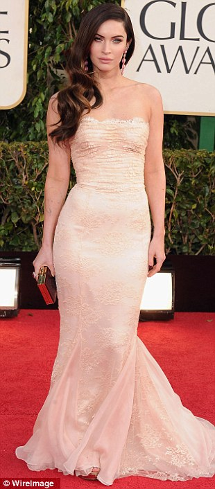 Knockout: The actress, who gave birth to son Noah four months ago, opted for a form-fitting nude dress complete with embroidered detailing