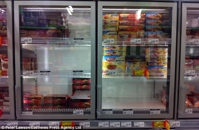 Gone: Burgers had also been removed from other supermarkets today. Asda in Chelmsford, Essex is pictured