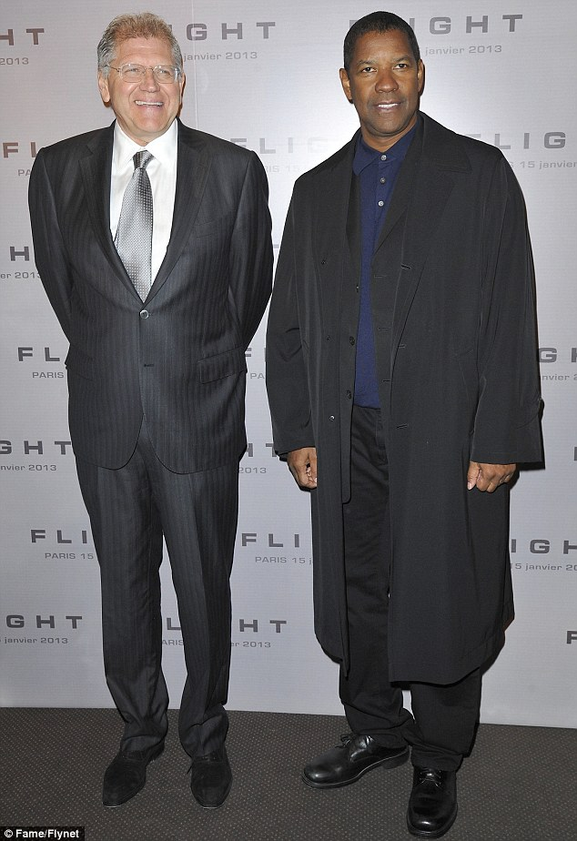 Oscar hopes: Denzel, pictured with director Robert Zemeckis, is up for Best Actor for his performance in the film