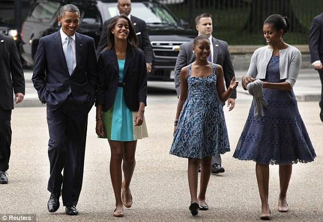 Members of the Secret Service surround the First Family as they walk to church in August of 2012. Secret Service protection for the immediate family members of U.S. presidents spans back to 1917