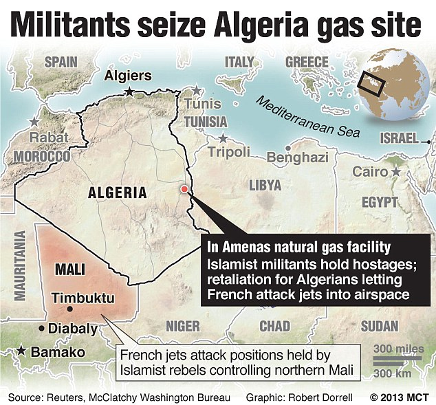 Scene: The plant is located in In Amenas, around 60 miles from the Libyan border and 800 miles from the capital in Algeria's vast desert south