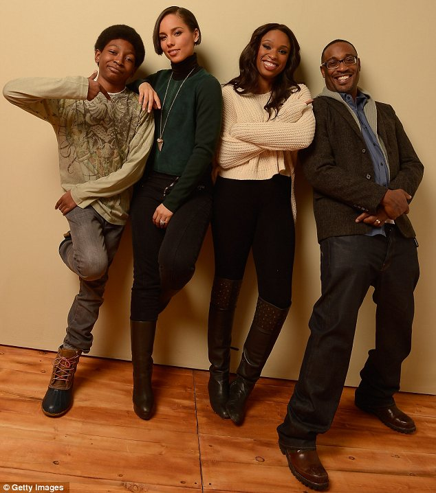 Fantastic Four: (L-R) Actor Skylan Brooks posed with Alicia, Jennifer and filmmaker George Tillman Jr. as they prepared to showcase their movie
