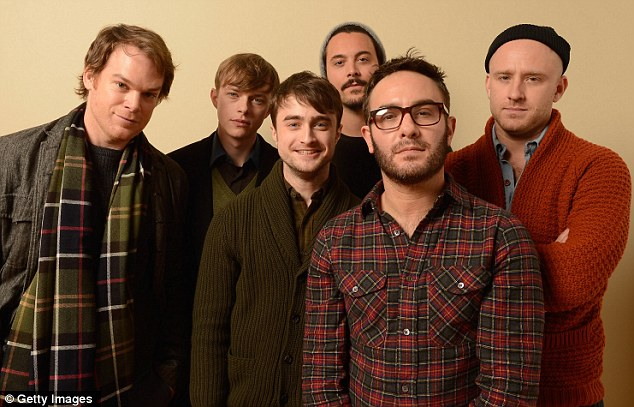 Killing it: Radcliffe, who plays Allen Ginsberg in the film, was joined by his Kill Your Darlings castmates Michael C. Hall, Dane DeHaan, Jack Huston, director John Krokidas, and Ben Foster