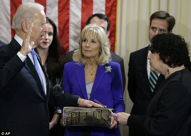 Second term: Vice President Joe Biden was sworn in by Supreme Court Justice Sonia Sotomayor Sunday morning