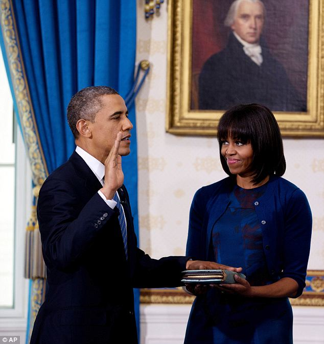 Keeping it in the family: Mr Obama opted to be sworn in on a Bible that has been in Mrs Obama's family for some time