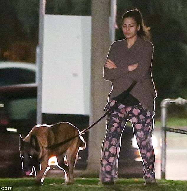 Late night: Eva Mendes walks her dogs late at night on Sunday in Hollywood as her boyfriend Ryan Gosling pops into the Seven Eleven to pick up some Cokes