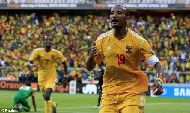 Ethiopia's Adane Girma celebrates his equalising goal