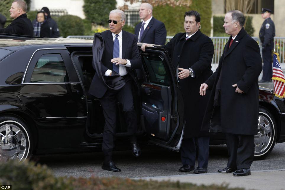 Suave: Vice President Joe Biden arrives at St. John's Church shortly after the Obama family