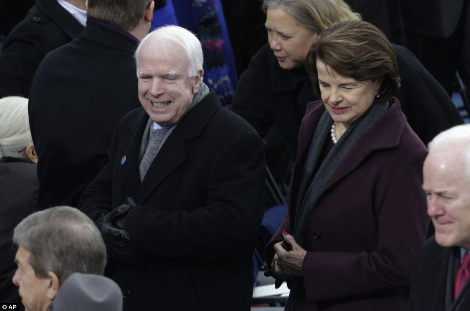 Senators: Sen. John McCain, R-Az., and Sen. Dianne Feinstein, D-Calif., arrive for the ceremony on MOnday morning