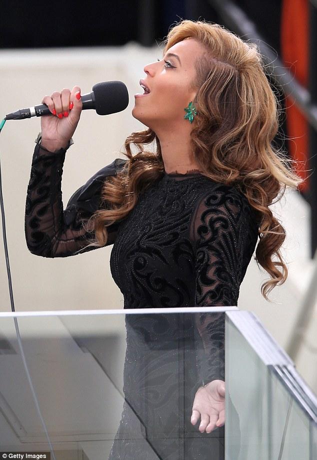 Belting it out! The singer performed the U.S. national anthem Star Spangled Banner