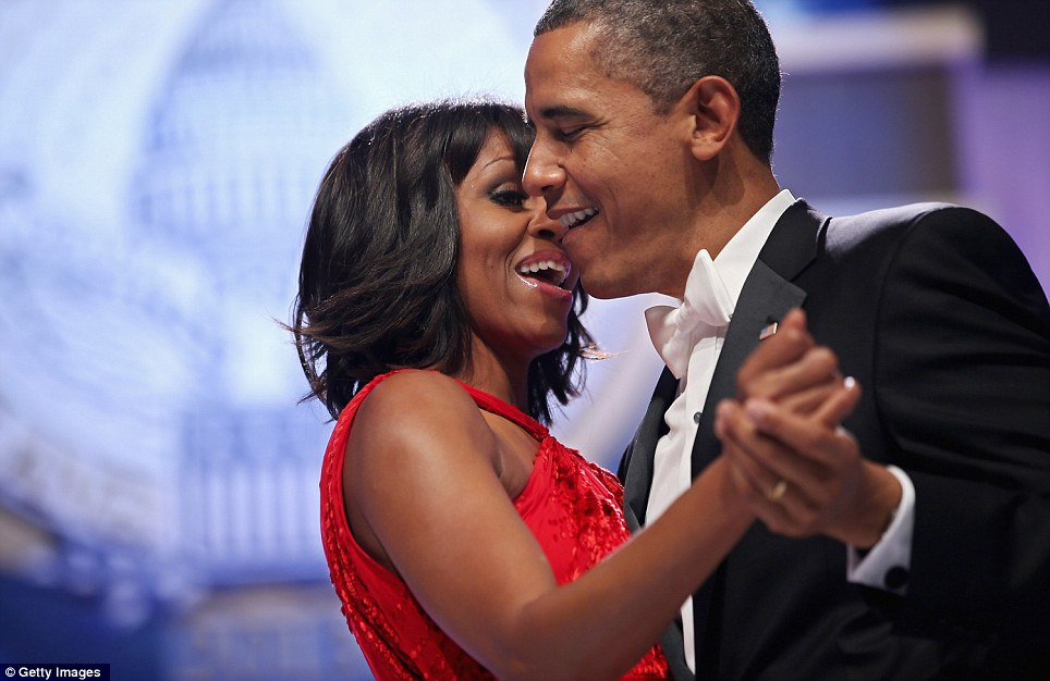 Sing along: Barack and Michelle sway along to the music as Jennifer Hudson serenaded the first couple
