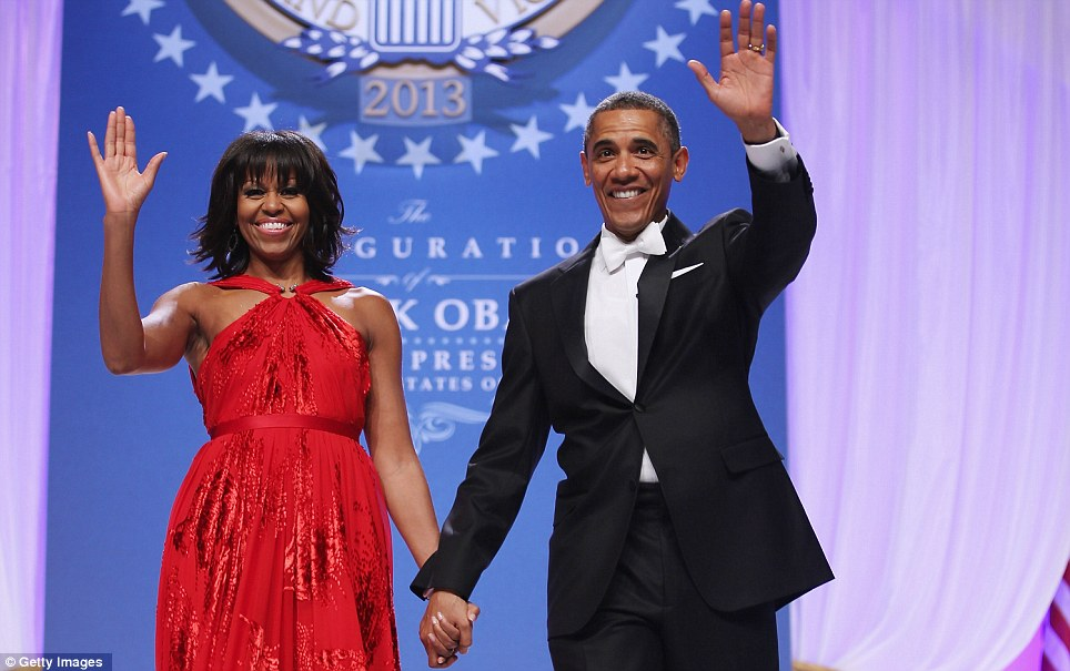 Appreciation: The Obamas expressed their deep gratitude for all the Armed Forces during the glitzy Washington event