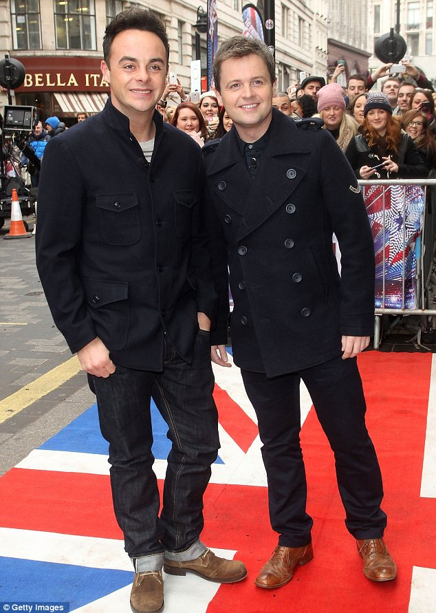 Out of the jungle: Presenters Ant and Dec were also at the auditions in matching navy outfits