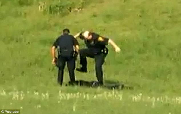 On leave: Three Connecticut police officers have been suspended after they were caught on video brutally beating a suspect in a local park