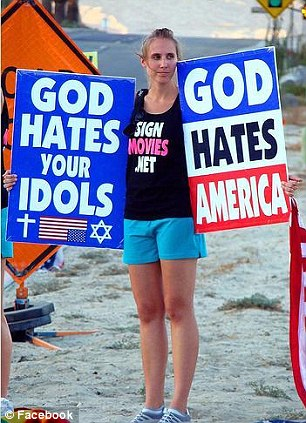 Before and after: Four years ago, Libby Phelps Alvarez ran away from Westboro Baptist Church in Kansas (left) to start a new life; she was disowned by her family, a small price to pay for her freedom, she says