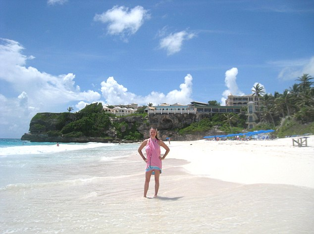 Rachel soaks up the sun on the pristine Crane Beach in Barbados