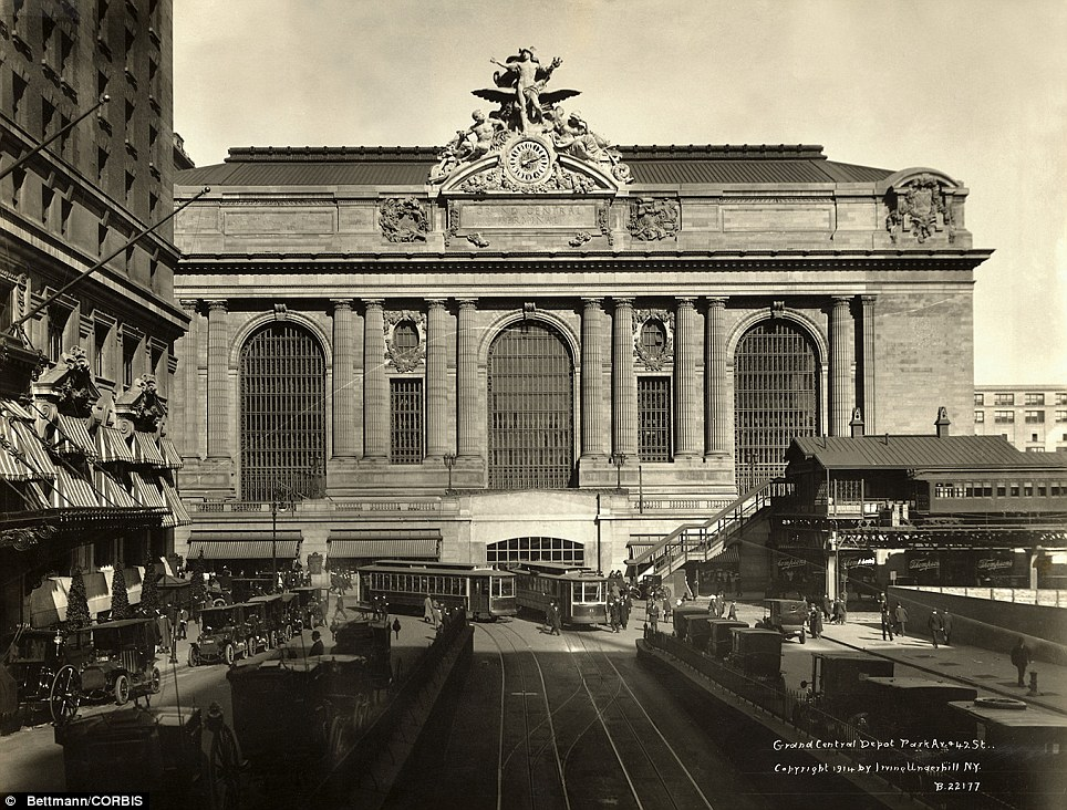 The iconic New York landmark with its Beaux-Arts facade is an architectural gem shown here in 1914 is still one of America's greatest transportation hubs