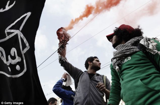 Protest: A demonstrator holds a smoke flare outside the Presidential Palace